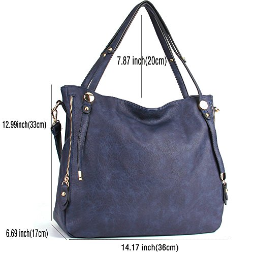Bags Cross Handbags PU WISHESGEM Satchel Zipper Bags Leather Body Blue Women Tote Shoulder aBPwqOZP