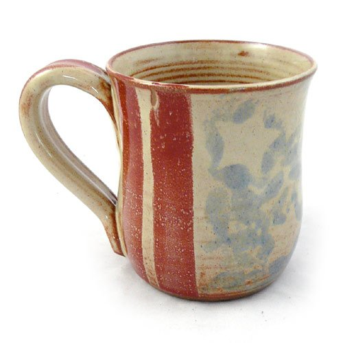 Old Glory American Flag Handmade Stoneware Pottery Mug, 14-ounce, Red, White + Blue