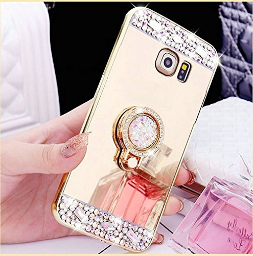 Galaxy S6 Edge Plus Case,IKASEFU Silicone Case [Bling Ring Holder] TPU Bumper Protective Crystal Rhinestone Sparkle Glitter Diamond Soft Rubber Back Case Cover for Samsung Galaxy S6 Edge Plus (Gold)