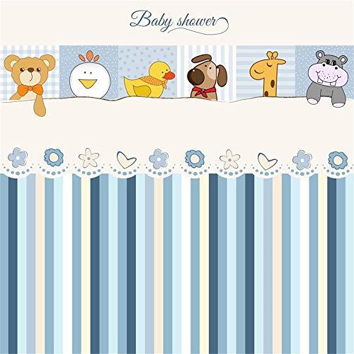 Laeacco 5x5ft Cartoon Cute Baby Shower Backdrop Vinyl Cute Animals Bear Chicken Duck Dog Giraffe Hippo Illustration Floral Stripes Background Boy Baby Shower Party Banner Greeting Card Wallpaper