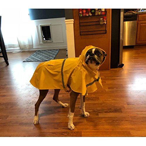 NACOCO Large Dog Raincoat Adjustable Pet Water Proof Clothes Lightweight Rain Jacket Poncho Hoodies with Strip Reflective (XL, Yellow)