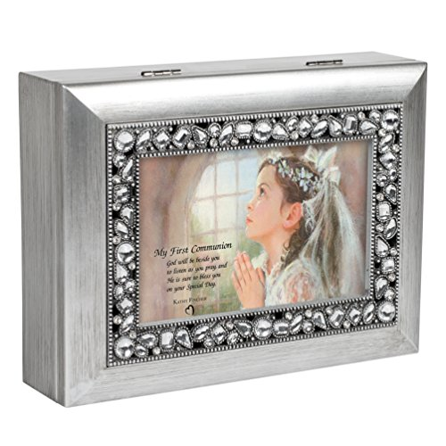 (My First Communion Girl Brushed Silver Jeweled Inlay Jewelry Music Box Plays You Light Up My Life)