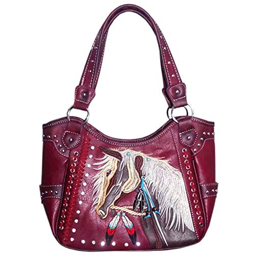 (Justin West Dales Pony Horse White Mane Embroidery Feather Conceal Carry Women Handbag Purse (Red Tote Only))