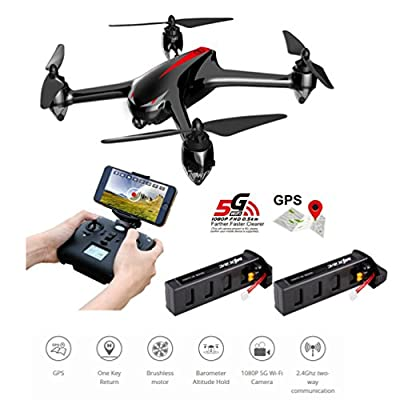 MJX B2W Bugs 2W Wifi FPV RC Quadcopter [2 Batteries Included] - Amazingbuy 2.4GHz 6-Axis Gyro 1080P HD 5G Wifi Camera FPV Long Range Drone With GPS, Altitude Hold, Headless mode and Return to Home from MJX