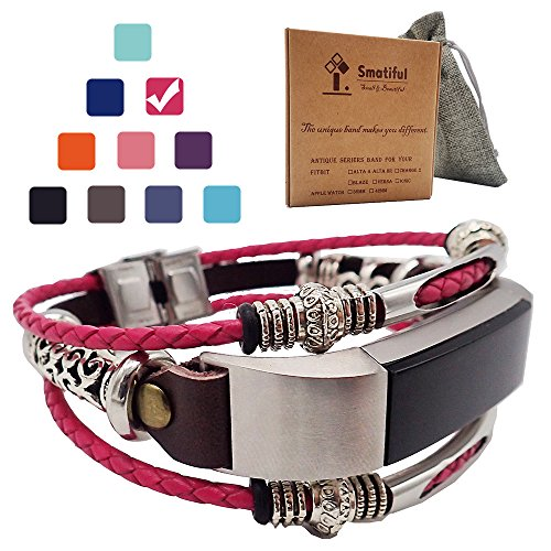 Smatiful Alta Bands (Include conector) for Kids, Tibetan Silver Parts (not Real Silver Jewelry),Adjustable Accessories Cords Wristband for Fitbits Alta HR Heart Pedometer,(Plum Red Blush) Shockpink (Plum Shiny)