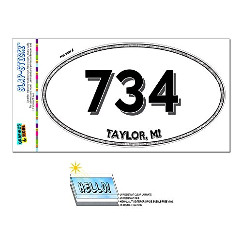 graphics-and-more-area-code-oval-window-laminated-sticker-734-michigan-mi-ann-arbor-ypsilanti-taylor