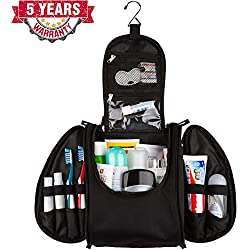 42 Travel Hanging Toiletry Bag - Large Kit Organizer for Men & Women - Spacious & Compact, 17 Compartments for all you need - Strong Zippers, Sturdy Hook, Water Resistant