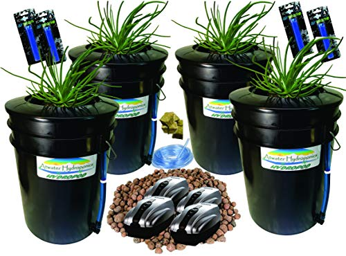 "Latest The Atwater HydroPod - Standard (4 SITE w/ 8"" Baskets) A/C Powered Dual DWC Deep Water Culture & Recirculating Drip Hydroponic Garden System Kit - 5 Gallon Size System Hydroponic System 8"