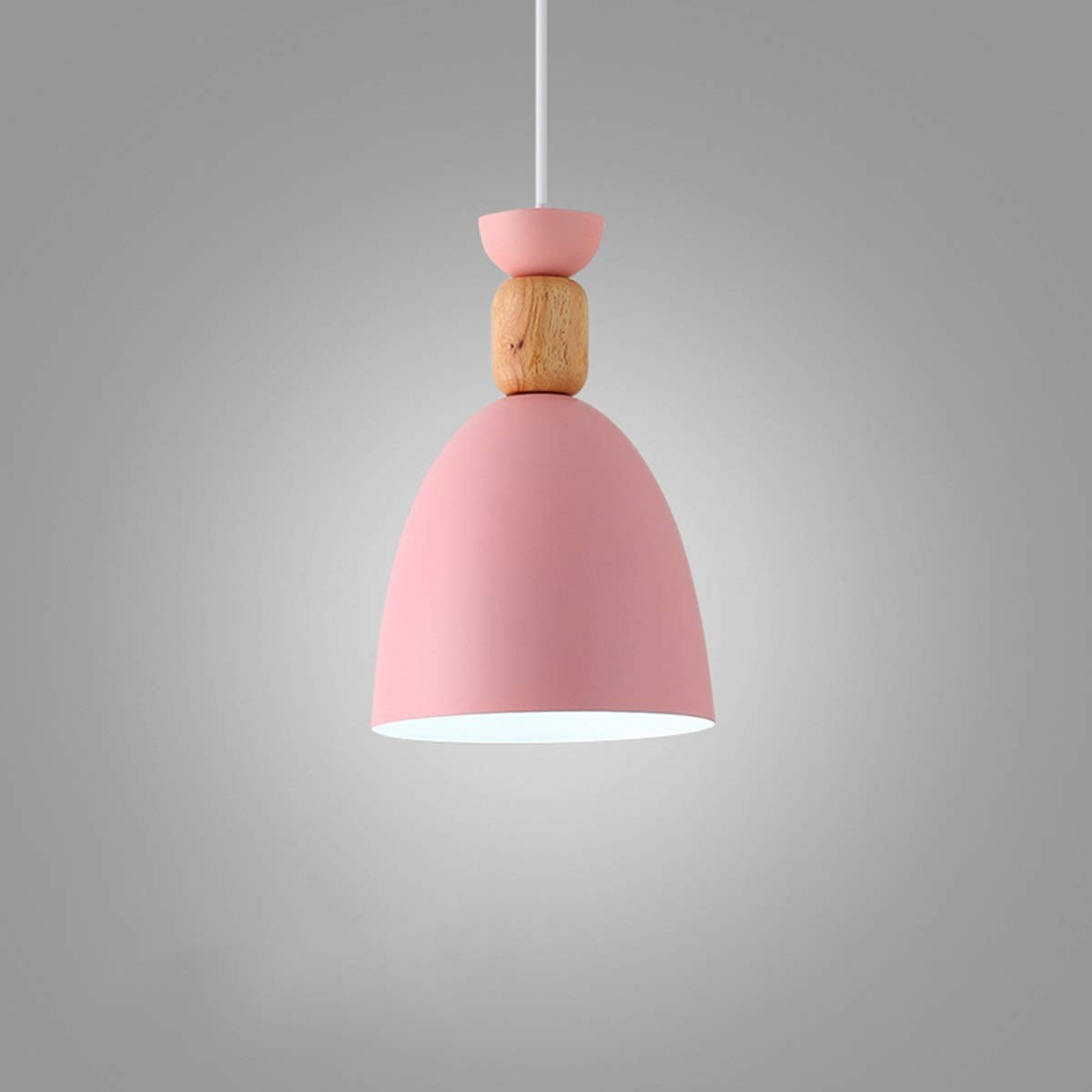 NANGE Macaron Chandelier, Wood Metal Suction Cups Pendant Lighting,Restaurant Home Dining Table Hanging Lamp,E27,110-220V(Without Light Source) (Color : Pink, Size : AC 220V)