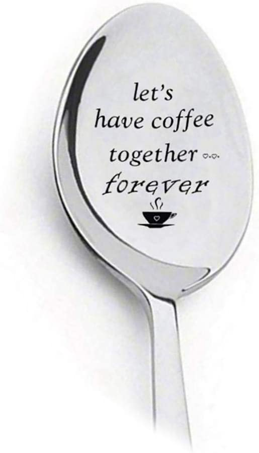 Cascat Stainless Steel DIY Lettering Couple Gifts Coffee Dessert Spoon Teaspoons