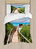 Ambesonne Beach Duvet Cover Set Twin Size, Beach Pathway over the Woodland in Spain Countryside Cottage Summer Sun Print, Decorative 2 Piece Bedding Set with 1 Pillow Sham, Green Cream Blue