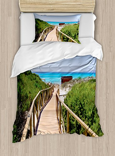 Ambesonne Beach Duvet Cover Set Twin Size, Beach Pathway over the Woodland in Spain Countryside Cottage Summer Sun Print, Decorative 2 Piece Bedding Set with 1 Pillow Sham, Green Cream Blue by Ambesonne