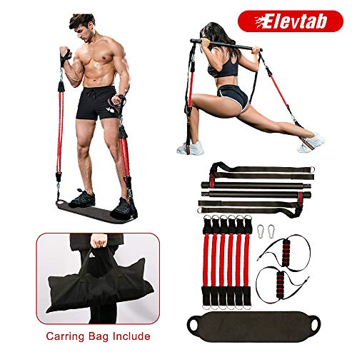 Elevtab Portable Home Gym Workout Set 3.0- Collapsible Resistance Bar with Adjustable Straps+ 3 Levels Resistant Bands+Foot Board+Handles+Workout Guide+Carrying Bag for Home, Outdoor or Travel