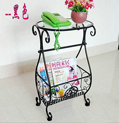 Magazine Rack w/Toliet Paper Holder Multi Purpose ,Accent Tables Metal & Glass Side Table with Scroll Magazine Rack, Measures 10'' x 15'' x 26'' Tall ! by Eastern Cloud (Image #2)