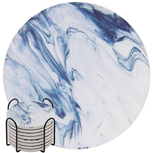 Absorbent Drink Coasters, GOH DODD 8 Pieces Ceramic Mats Table Centerpieces Home Decor With Cork Backing and Holder Stand for Home Office, Blue Marble Surface Pattern ()