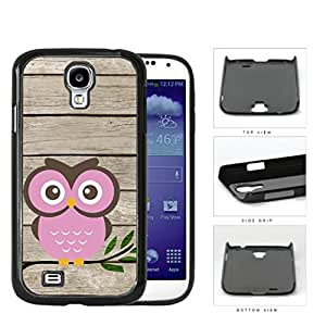 Pink Owl On Tree Branch With Wood Pattern Samsung Galaxy S4 I9500 Hard Snap on Plastic Cell Phone Cover