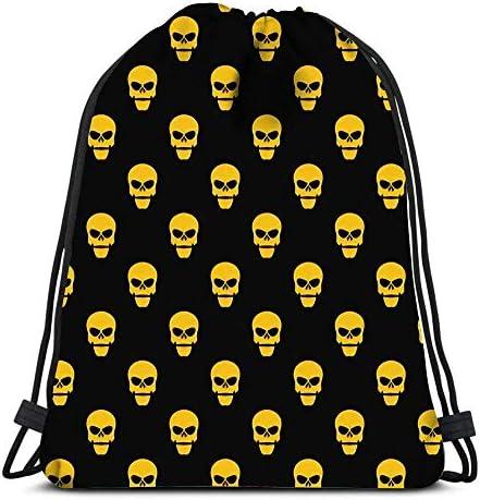 GeorgoaKunk Kordelzug Taschen abstrakte gelbe Schädel auf schwarzen Tod im dunklen flachen Strand Rucksack