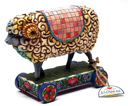 Jim Shore Sheep On Cart Figurine