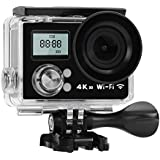 Acouto Wifi Action Camera 12M 4K 2 Inch Dual Screen 170°Wide Angle Waterproof Sport Camera Camcorder Head Cam Kits for Outdoor Surfing Cycling Riding ect