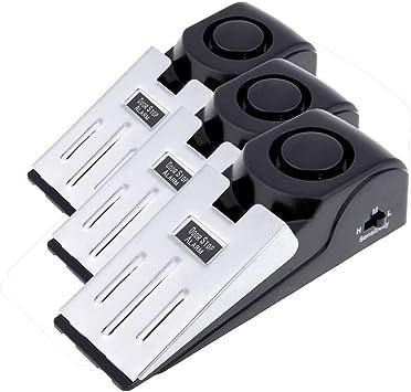 paquete de 3 MS-M68 Mengshen 3-Pack de seguridad de la cu/ña de la puerta de detener la alarma de tap/ón de bloqueo de viajes de seguridad de la casa de alerta 120db