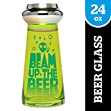 BigMouth Inc. Beam Up the Beer UFO Beer Glass - Holds 24 oz of Beer - Funny and Unique Beer Glass with Alien Theme, Made of Glass, Makes a Great Gift Idea
