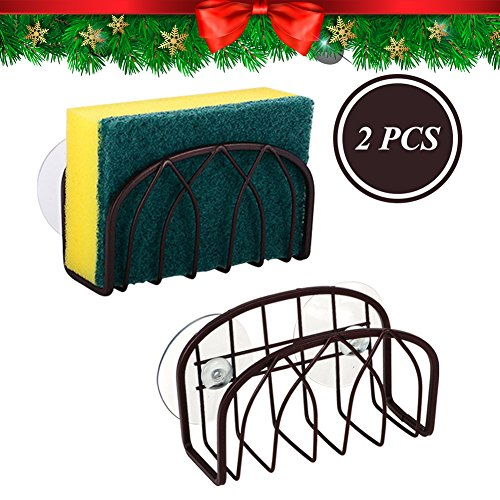 CHRISTMAS GIFT Top Sponge Holder | 2pcs Sink Caddy with Plastic Suction Cups | Wire Basket Design for Sanitary Drying | Durable Carbon Alloy Material | Kitchen Sink Organizer for Sponge Scrubber Brush