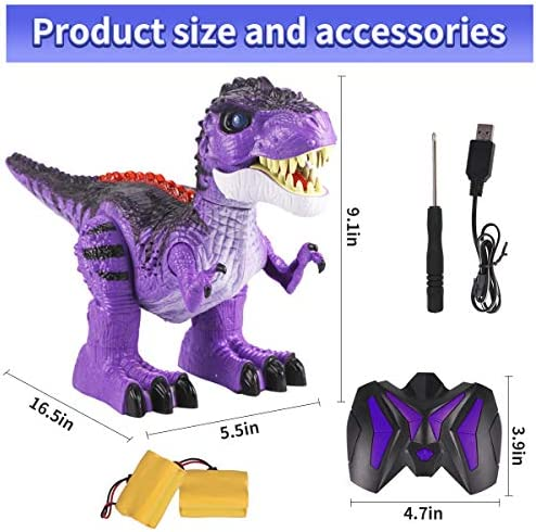 GILOBABAY Remote Control Dinosaur 2.4Ghz RC Toys, Electronic Walking Tyrannosaurus Rex Dinosaur with Lights and Sounds, 2 Rechargeable Batteries, 360 Degree Dancing, Gift for Kids Boys Girls