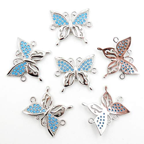 Charms for Jewelry Making, Connector for Bracelet, Sold per Bag 10pcs Inside (White Gold Butterfly 18x21mm)
