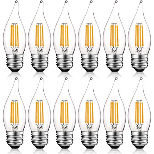 Luxrite 4W Vintage E26 Candelabra LED Bulbs Dimmable, 430 Lumens, 2700K Warm White, Medium Base Candelabra Bulb 40W Equivalent, Flame Tip Clear Glass, Edison Filament Light Bulb, UL Listed (12 Pack) -