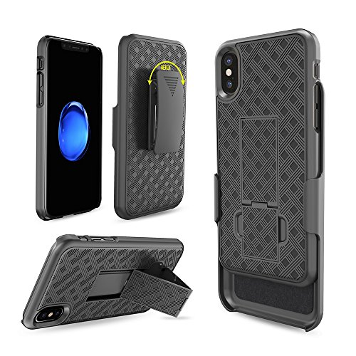 iPhone X Case, Moona Shell Holster Combo Case for Apple iPhone X with KickStand & Belt Clip '2 Year Warranty' - iPhone 10 Belt Clip Case Thin Holster