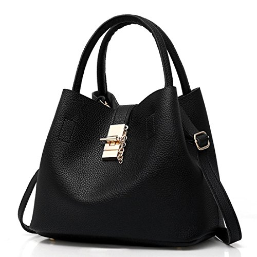 Mother Black Shoulder Bag NXDA Fashion Handbag Buns Bags with Black 2Pcs Women's Leather fwxPa