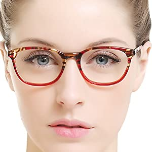OCCI CHIARI Rectangle Stylish Eyewear Frame Non-prescription Eyeglasses With Clear Lenses Gifts for Women (Red,47)