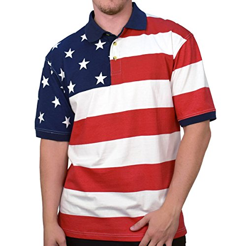 Horizontal American Flag Patriotic Men's Polo Shirt (XXLarge) ()