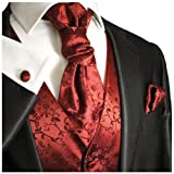 Wedding Vest with Tie , Cravat, Pocket Square and Cufflinks Burgundy Medium (Chest Width 40)