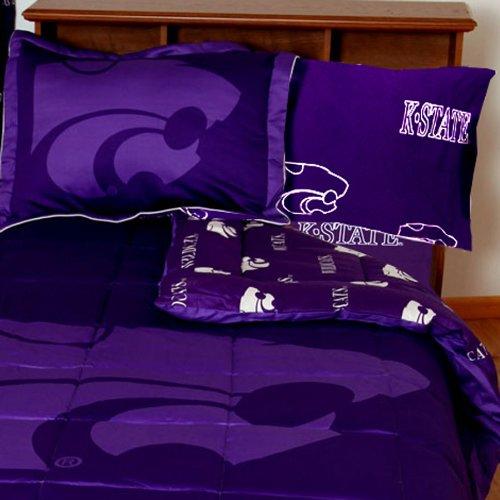 NCAA Kansas State Twin X-Long Bed Set Purple Cotton (Kansas State Sheet Set)