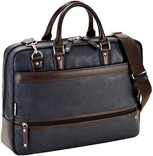 平野鞄 ビジネスバッグ ショルダーバッグ 両開きファスナー メンズ ブリーフケース B4 B4 2way ショルダー付き 出張 ビジネス 黒 紺 ブラック ネイビー 横幅42cm +オリジナル高級ムートングローブ