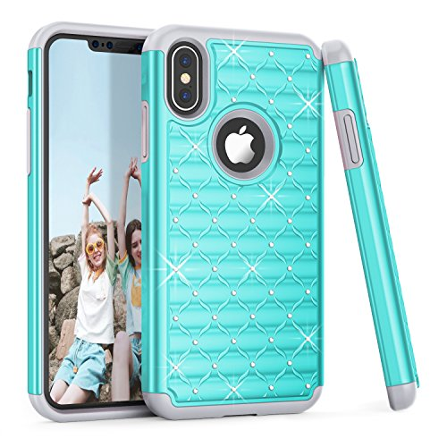 iPhone X Case, TILL(TM) Studded Rhinestone Crystal Bling Diamond Sparkly Luxury Shock Absorbing Hybrid Defender Slim Fit Glitter Cute Apple iPhone X 2017 Case Cover For Girls Women (Turquoise Glitter)