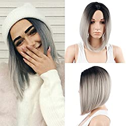 ZingSilky Product 2 Tone Black And Gray Ombre Wig, Heat Resistant Kanekalon Synthetic Short Bob Wigs For Women (13inch, 1B#/Silver Grey)