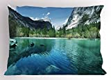 Lunarable Yosemite Pillow Sham, Mirror Lake Yosemite Scenic Picture with Mountains Lakeside Trees Waterscape, Decorative Standard Queen Size Printed Pillowcase, 30 X 20 inches, Turquoise Blue
