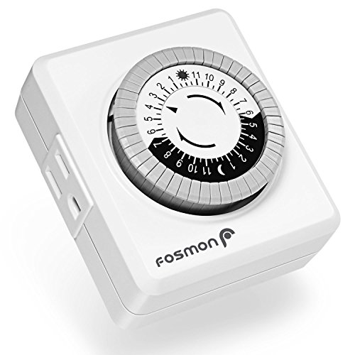 24 Hour Timer Outlet, Fosmon 3-Prong Dual Outlet Plug-in Mechanical Timer Grounded, ETL Listed