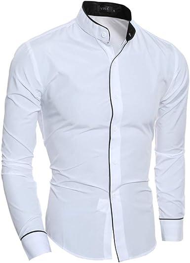 Camisa de manga larga con cuello alto para hombre