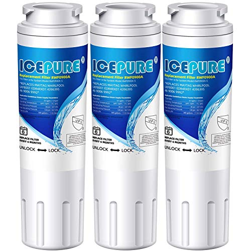 Icepure UKF8001 Refrigerator Water Filter Replacement Maytag UKF8001, UKF8001AXX, compatible with Whirlpool 4396395, 469006, 469005, EveryDrop Filter 4, EDR4RXD1, Puriclean II, RWF0900A 3PACK
