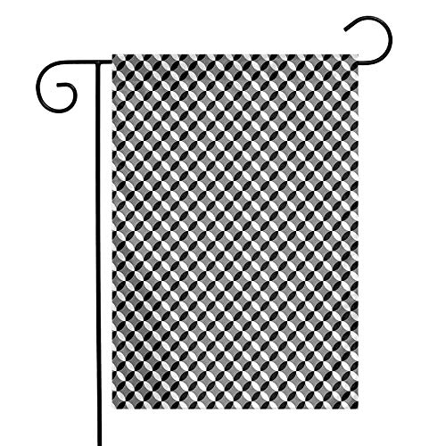 Mannwarehouse Black and Grey Garden Flag Arrangement of Intertwined Circles Geometric Design Abstract Mosaic Premium Material W12 x L18 Black Grey White (Circles Grey Swag)