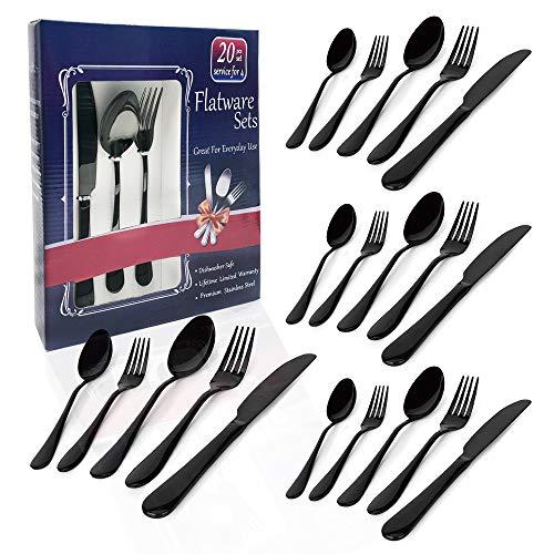 black flatware set sainless steel silverware set 20-piece black sterling electroplated metal tableware,Knife/Fork/Spoon/Teaspoon/Fruit fork for Families,Kitchens,Restaurants Serving for 4(jet back)