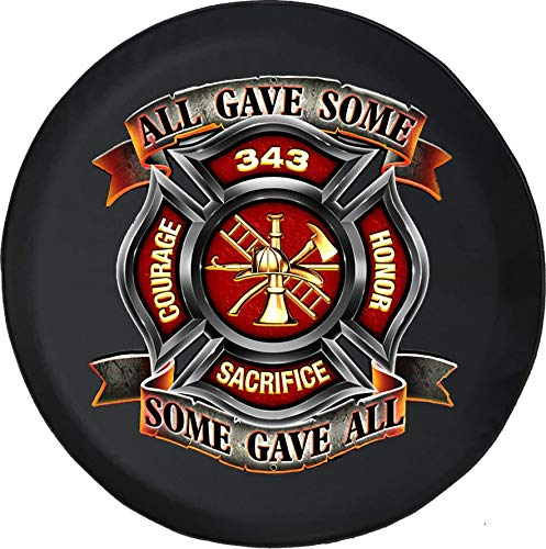 American Unlimited Spare Tire Cover All Gave Some Gave All Firefighter Rescue Grill Fits Jeep JK Camper RV Size 33 Inch