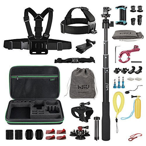 HSU Accessories Kit for GoPro Hero2018 HERO 5 4 3+ 3 2 1,Sports Camera Accessories Set for Xiaomi Yi, and Other Digital Cameras(47-in-1set) by HSU