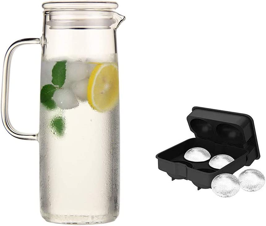 Glass Pitcher with Lid - High Heat Resistance Pitcher for Hot/Cold Water & Iced Tea 42Oz