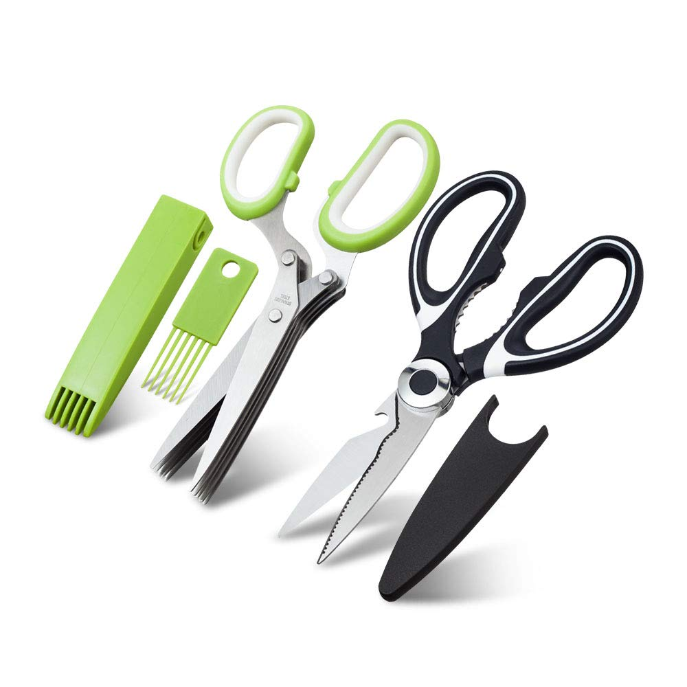 Heavy Duty Kitchen Shears and Herb Scissors Set - Multipurpose Culinary Combo Kit of Stainless Steel Food Scissors, 5-Blade Herb Cutter - Great for Meat, Poultry, Garden, Cooking, Crafts