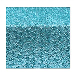 Rose Wedding Rug, Carpet Runner Artificial Silk Flower 1.5M Wide Reusable Suitable for Wedding Party T Station,Tiffanyblue,5M 42