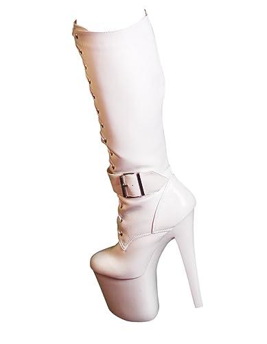 037d8aee889cf5 RUBY-FASHION Sexy Extrem Hohe Plateau High Heels Lack Stiefel GoGo  Kniestiefel Lackstiefel Boots